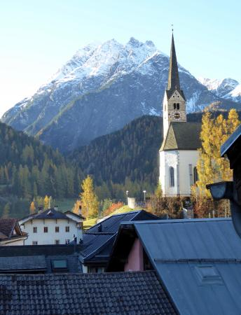 Hotel Conrad Scuol: Southerly view from top floor room.
