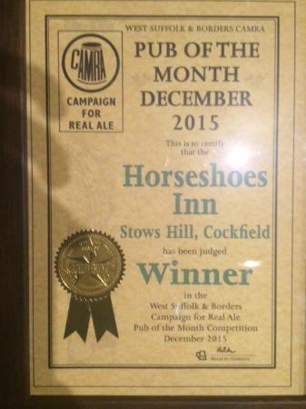 Cockfield, UK: New award for Dec