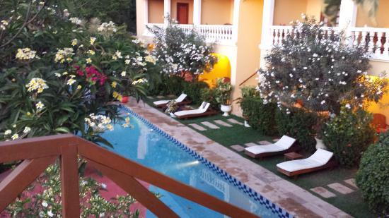 Hotel Villa Terra Viva: Vista de la pileta desde las reposeras de arriba