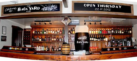 """Our BackYard Pub: The """"Bar"""" Area. Plenty of Fantastic Wines, Beers, Spirits and Non-Alcoholic Drinks to choose fro"""