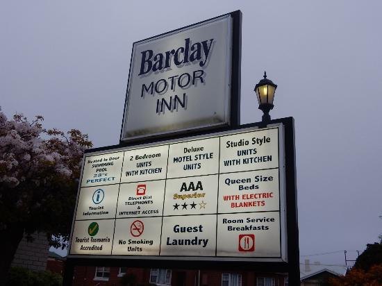 Barclay Motor Inn : panneau récapitulatif