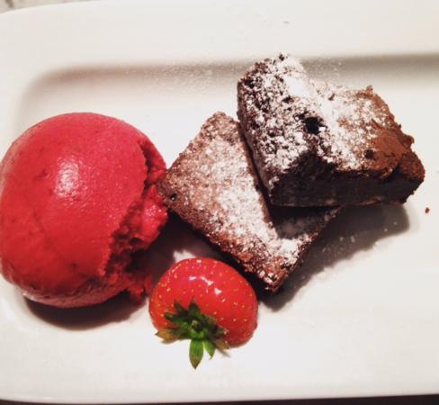 Gluten Free Chocolate Brownie With Dairy Free Raspberry