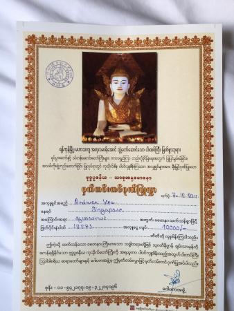 donation certificate picture of nga htat gyi pagoda yangon