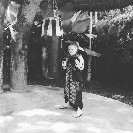 Thai boxing in the family activity area