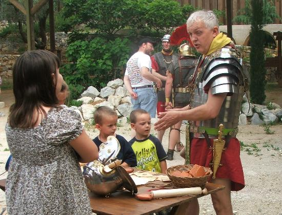 LaGrange, GA: Roman soldiers interacting with visitors.