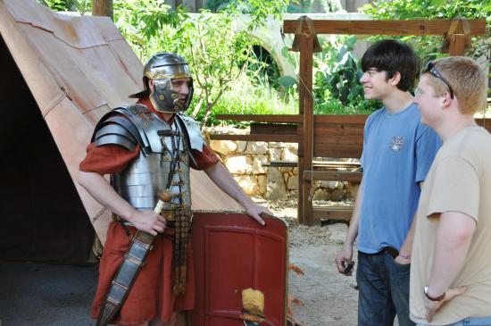 LaGrange, GA: Roman soldier explaining his equipment.