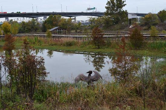 Riverfront Park: Heron sculpture in the William E. Clark Presidential Wetlands