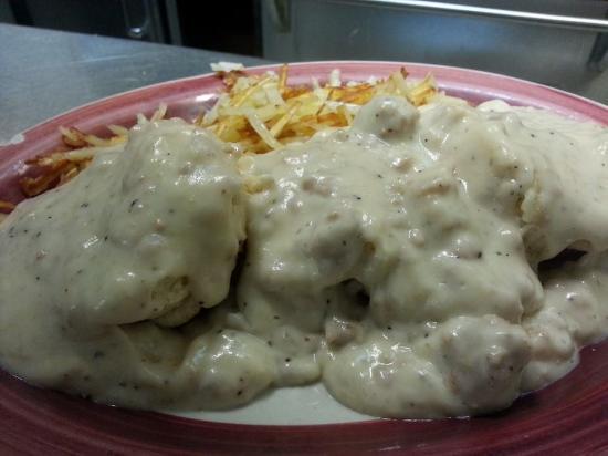 Tenino, WA: HOMEMADE sausage gravy on this biscuits and gravy. SOOO good!!