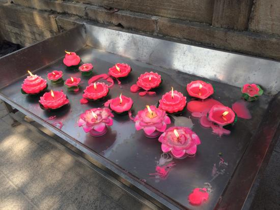 Pool and Mulberry Tree Temple (Tanzhe Si) : Velas em forma de flor
