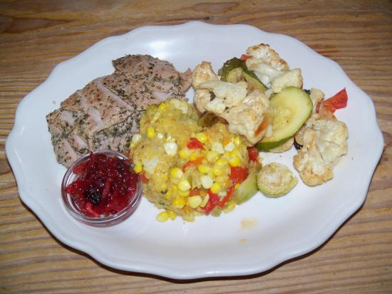 Union Pier, MI: Pork Tenderloin, Cranberry Chutney, Roasted Veggies, & Cornbread Stuffing