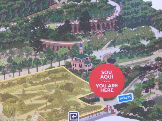 Barcelona, Park Guell, map of the park - Picture of Park ...