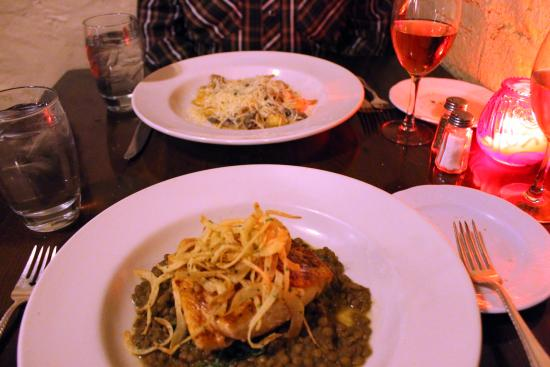 Buckhorn Saloon & Opera House: salmon with green lentils & pork tenderloins
