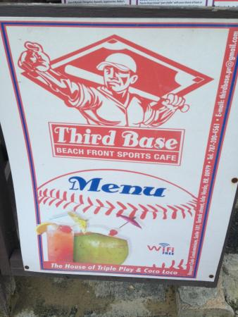 Third Base Sports Cafe : Board at the enterance