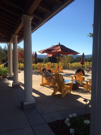 Merriam Vineyards Winery: Adirondack chairs on patio for lounging and sipping