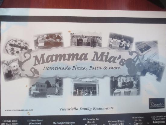 Mamma Mia's Restaurant: Placemat