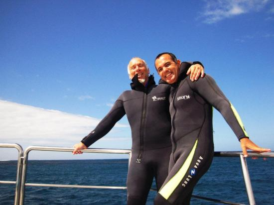 Dyer Island: con Gus antes de entrar al mar