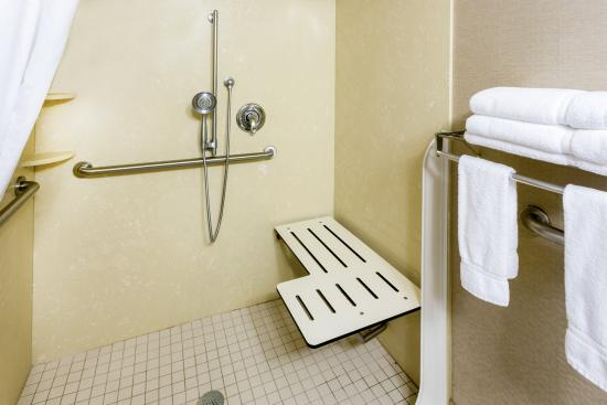 Roseburg, OR: ADA/Handicapped Guest Bathroom with roll-in shower