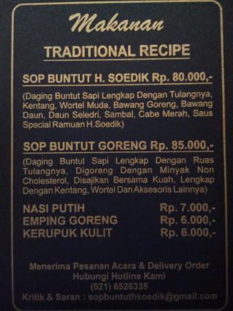 Warung Sop Buntut H. Soedik : Menu Makanan