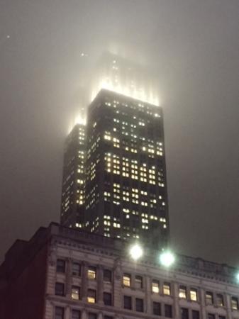 New York Skyride: foggy Empire State Building