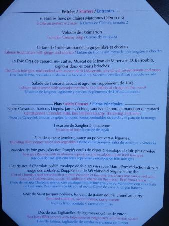 Restaurant La Marquiere: carte La Marquière