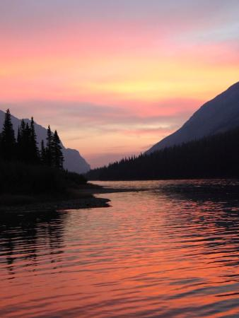 Belly River: Sunrise at Glenns Lake Head Campground, Glacier National Park.