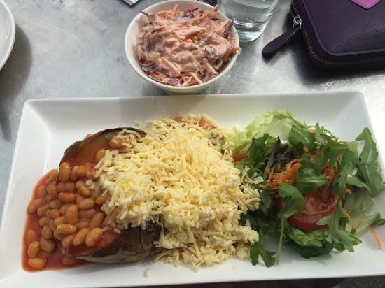 Jacket Potato With Beans And Cheese Amazing Coleslaw On Side