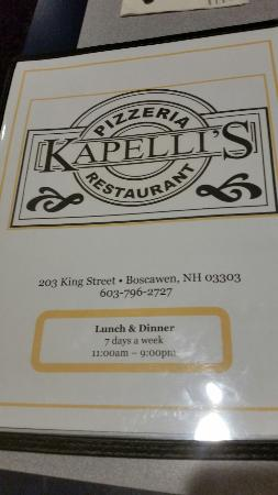 Boscawen, Нью-Гэмпшир: Kapelli's Restaurant