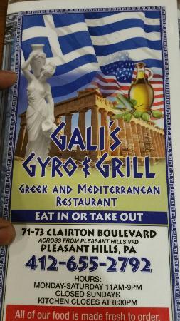 Pleasant Hills, بنسيلفانيا: Gali's Gyro and Grill