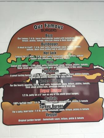 C & D Drive-In and Bakery: Burger Menu