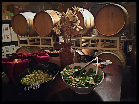 Lake Mills, WI: A private party in the tasting/production room. A beautiful spread from our Chef Jason Dunn.