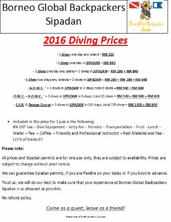 Borneo Global Sipadan Backpackers (Semporna): 2016 Diving Prices