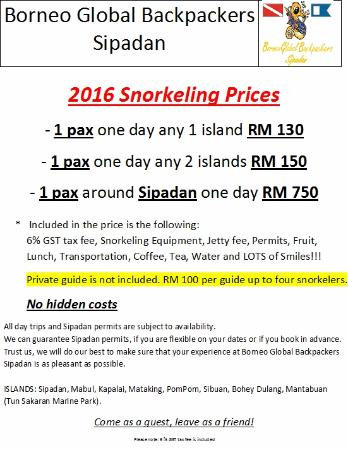 Borneo Global Sipadan Backpackers (Semporna): 2016 Snorkeling Prices