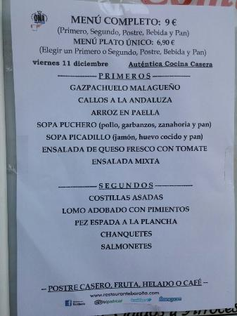 ejemplo de menú del día fotografía de restaurante bar oÑa málaga