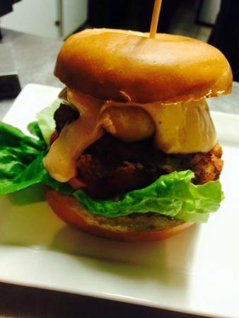 Jones' Cafe Bistro: crabbie pattie burger topped with tempura prawns and thousand island dressing