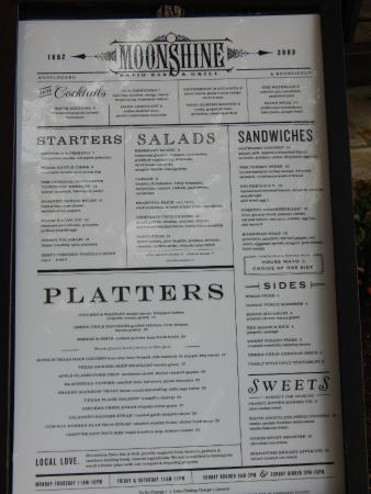 Good Moonshine Patio Bar U0026 Grill: Menu