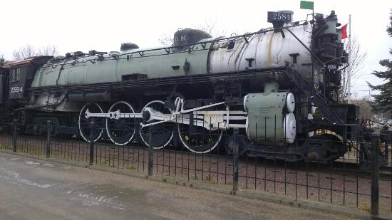 A steam engine at the Havre Amtrak station