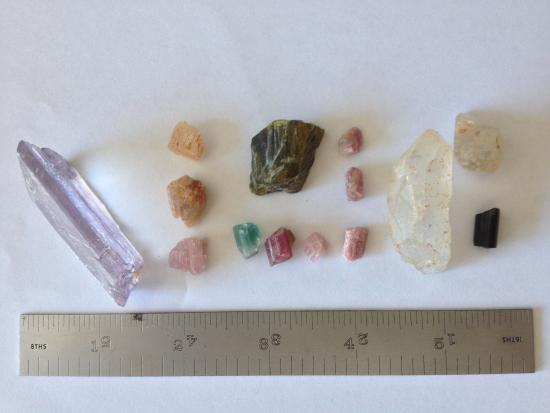 Pala, Californie : One day's haul from the fee dig. The kunzite on the left is worth $500.