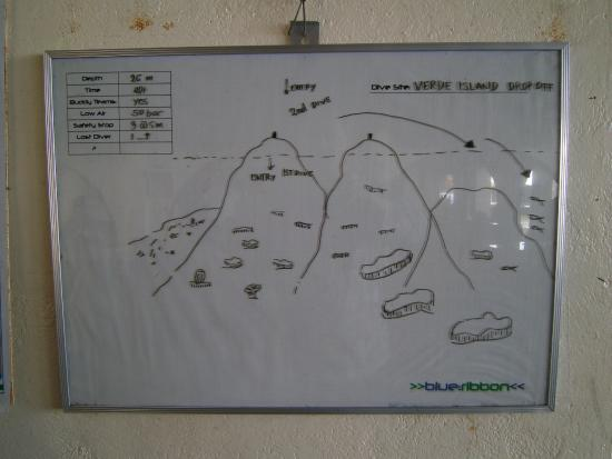 Blue Ribbon Dive Resort: Draw a map for each dive,before going out.