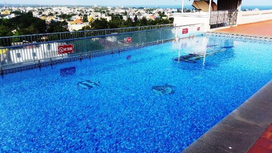 Pool area on roof top picture of shenbaga hotel convention centre pondicherry tripadvisor Budget hotels in pondicherry with swimming pool
