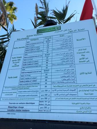 Jardin Zoologique National de Rabat : Price list of Rabat ZOO