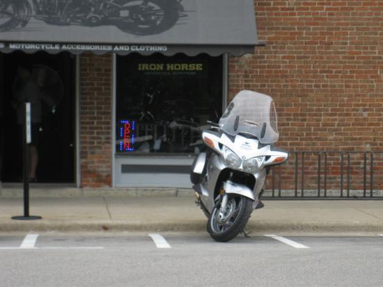 Lanesboro, Minnesota: main street Lanesboro, Motorcycle Parking at Iron Horse