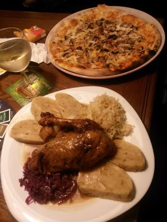 U Tucnaku: duck with cabbage and bread and potato dumplings