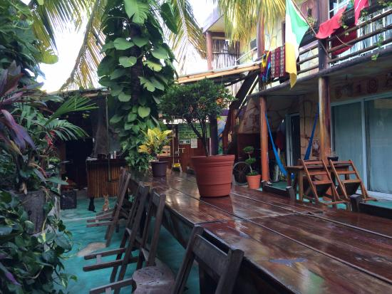Mama's Home: Hostel courtyard and communal table