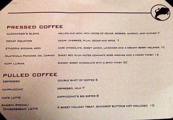 Alexander's Steakhouse: Love Coffee? Kopi Luwak served