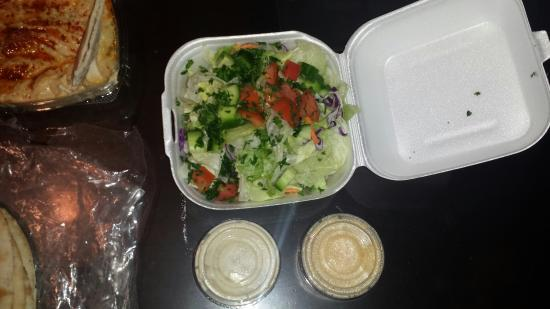 Sanger, CA: Large, tasty, fresh Greek salad is served with any meal option.
