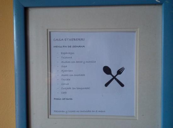 Goldaratz, Espagne: menu