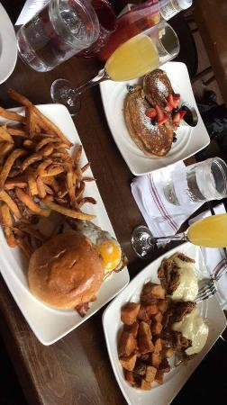 Mimosas, breakfast burger, eggs benedict, pancakes with fireball whiskey syrup
