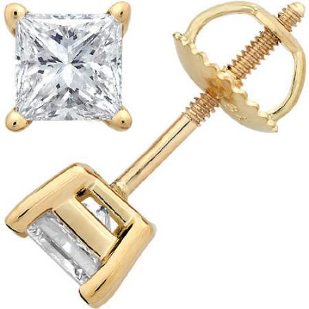 Shamrock Jewellers Princess Cut Diamond Studs Yellow Gold