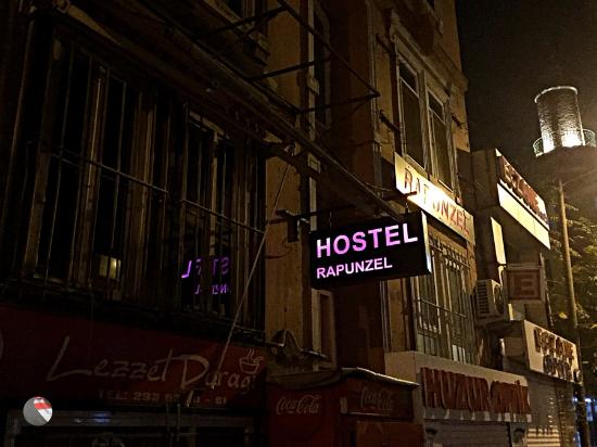 Rapunzel Hostel: Entrance at night