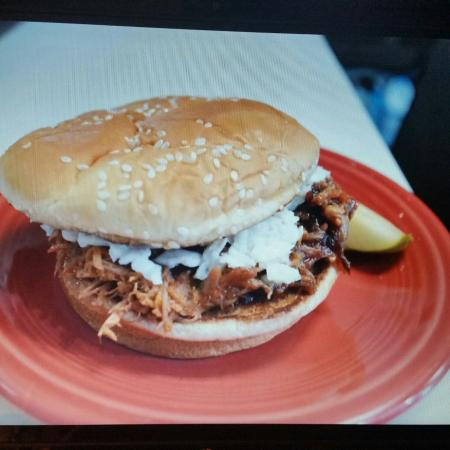 Roadrunner Grill: Pulled pork BBQ with homemade cole slaw on a grill bun